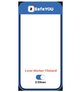Lone-Worker App Beskyttelsen er aktiveret og nedtaelling startet